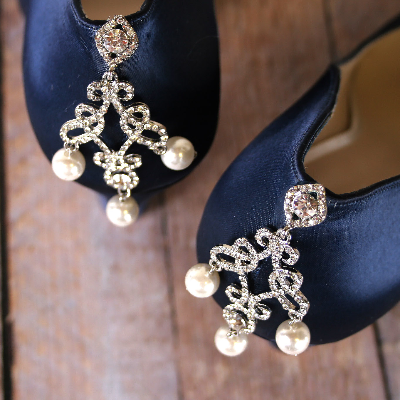 Navy Blue Something Blue Wedding Shoes with Sparkly Silver Crystal and Ivory Pearl Chandelier Adornment on Block Heel Custom Wedding Shoes by Ellie Wren