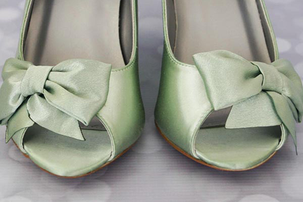 Green Wedge Wedding Shoes by Ellie Wren Custom Wedding Shoes with Matching Green Bow