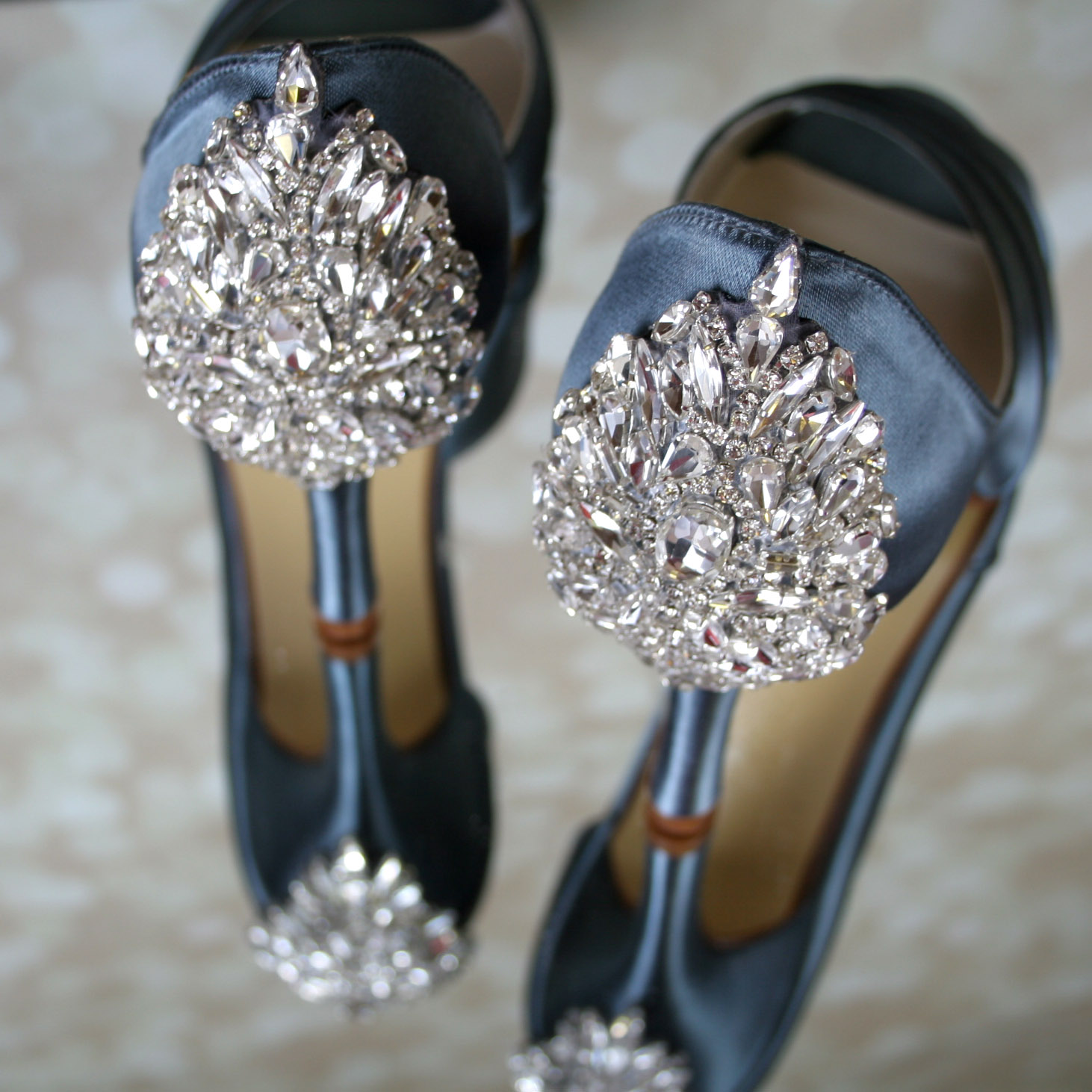 Slate Blue Something Blue Wedding Shoes with Sparkly Crystal Heel Comfortable Custom Wedding Shoes by Ellie Wren