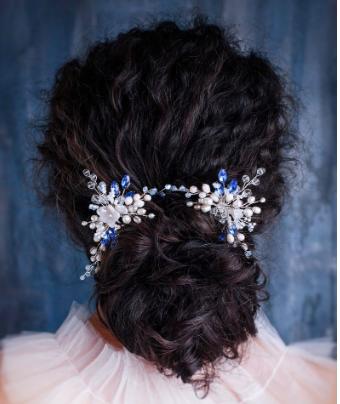Something blue Rhinestone & Pearl Wedding Comb Floral bridal hair wreath Crystal Sapphire headpiece Floral leaf headpiece