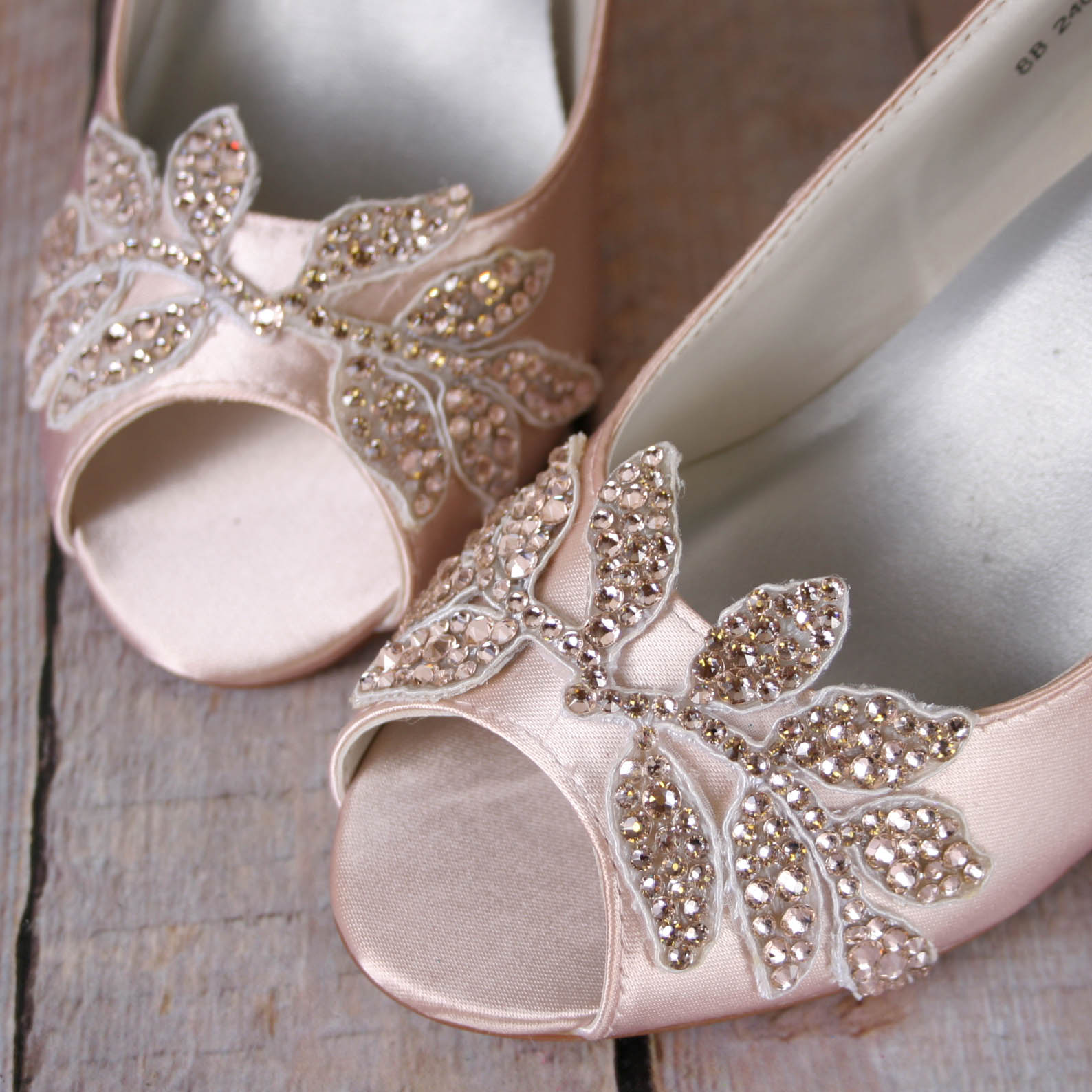 Custom Blush Wedge Wedding Shoes with Swarovski Crystal Leaves Custom Wedding Shoes by Ellie Wren