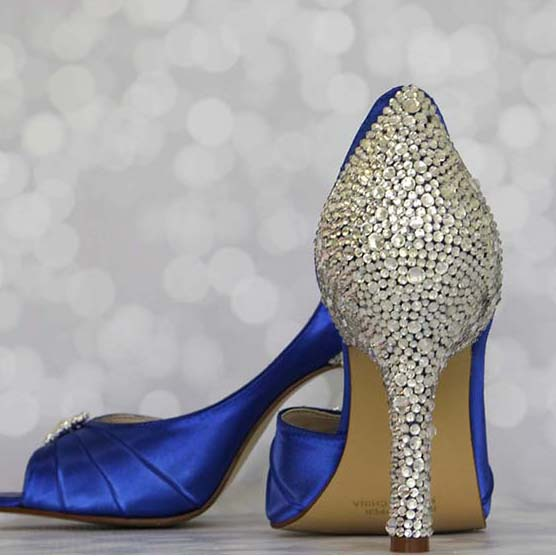 Royal Blue Sparkly Wedding Shoes With Silver Crystal Heel Comfortable Custom Wedding Shoes by Ellie Wren