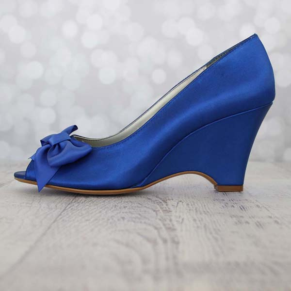 Royal Blue Wedge Wedding Shoes with Matching Bow Custom Wedding Shoes by Ellie Wren
