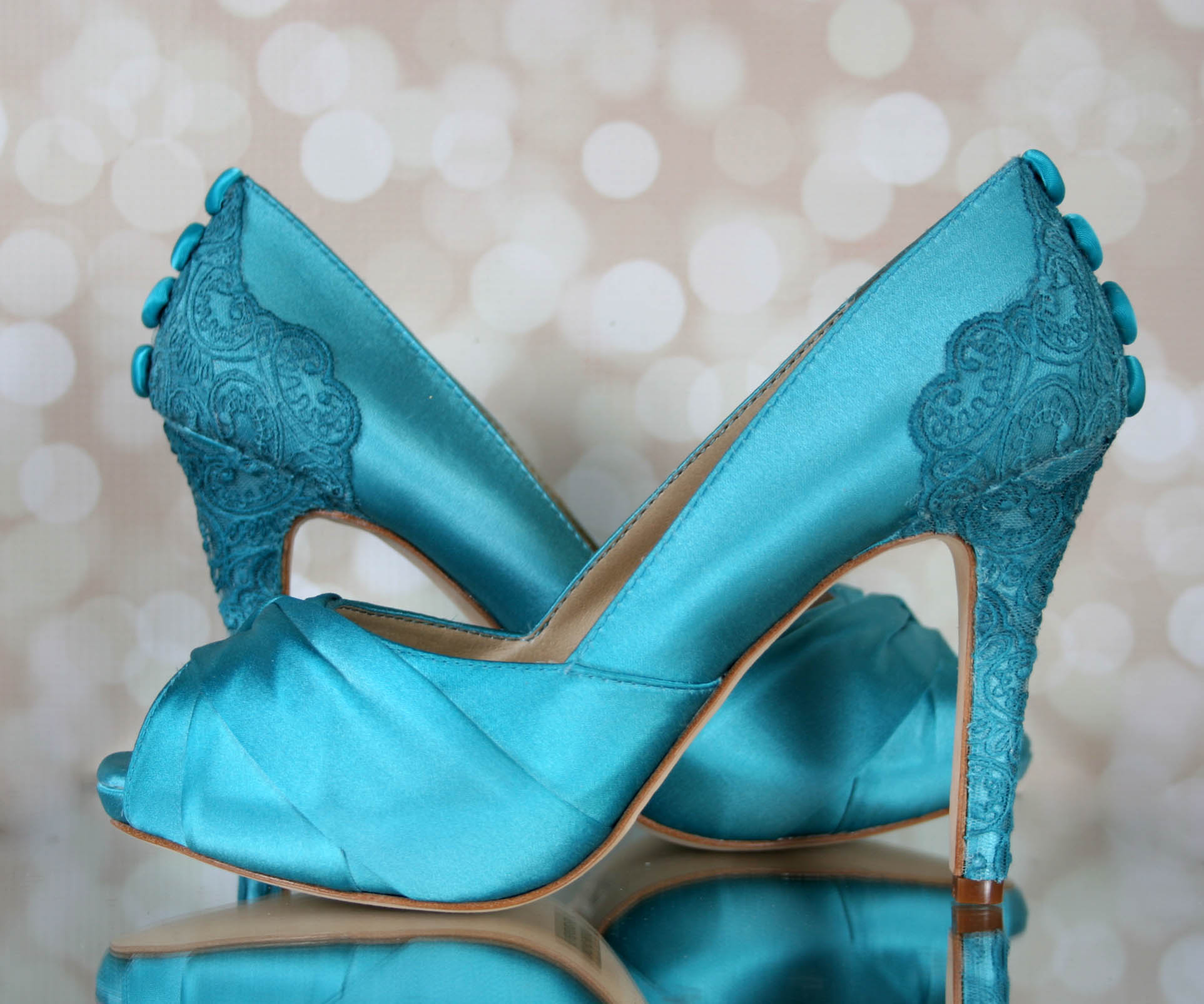 Blue Open Toe Platform Wedding Shoes with Lace Heel and Matching Sating Buttons Custom Wedding Shoes Ellie Wren