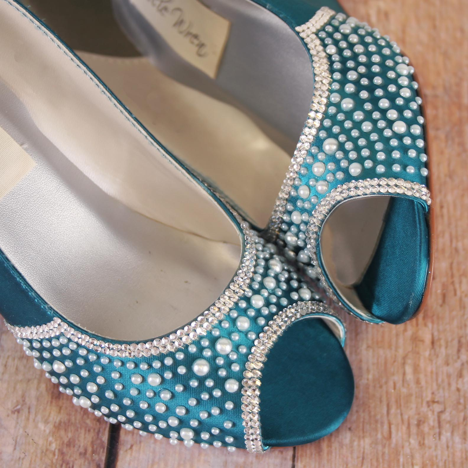 Turquoise Wedges for Bride with Silver Crystal and Ivory Pearl Accents Custom Wedding Shoes by Ellie Wren