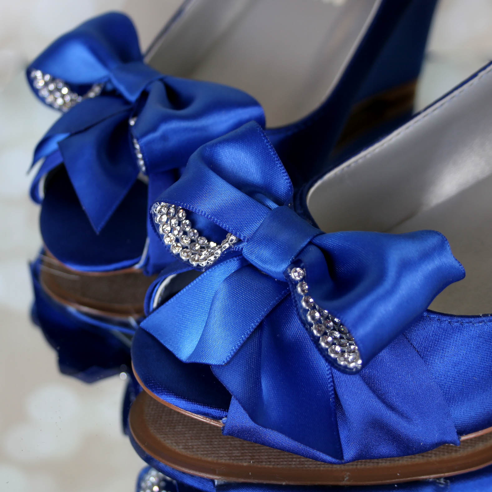 Blue Wedge Wedding Shoes with Crystal Accented Bow Open Toe Custom Wedding Shoes by Ellie Wren
