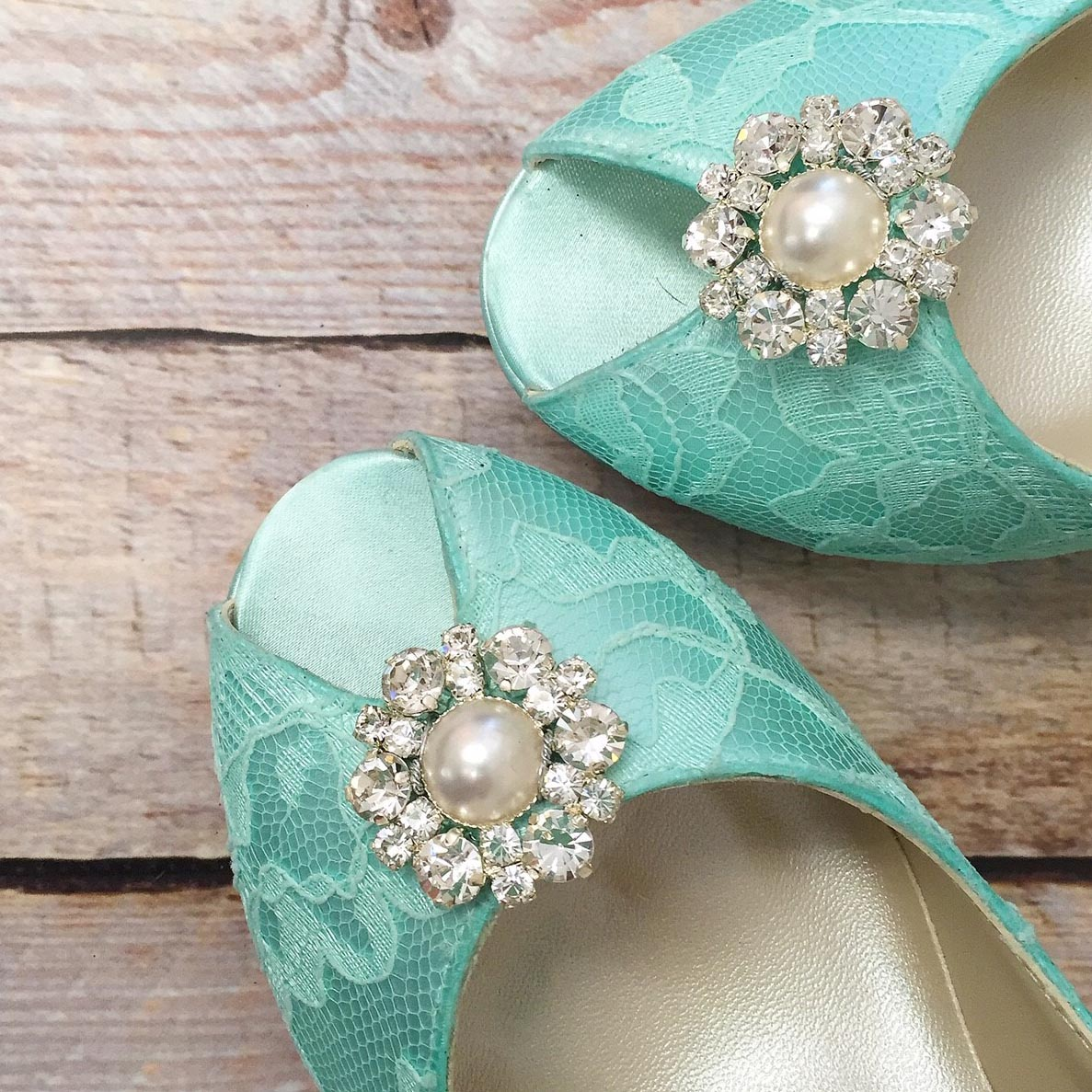 Aqua Blue Lace Wedding Shoes with Sparkly Pearl and Silver Crystal Brooch Comfortable Custom Wedding Shoes by Ellie Wren