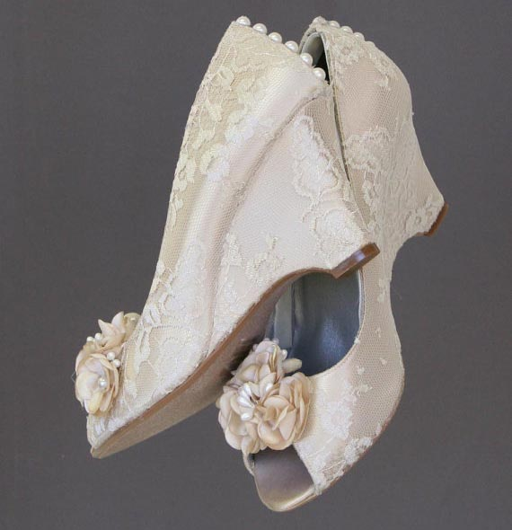 Ivory Lace Wedge Wedding Shoes Custom Wedding Shoes by Ellie Wren with Handmade Flowers and Pearls