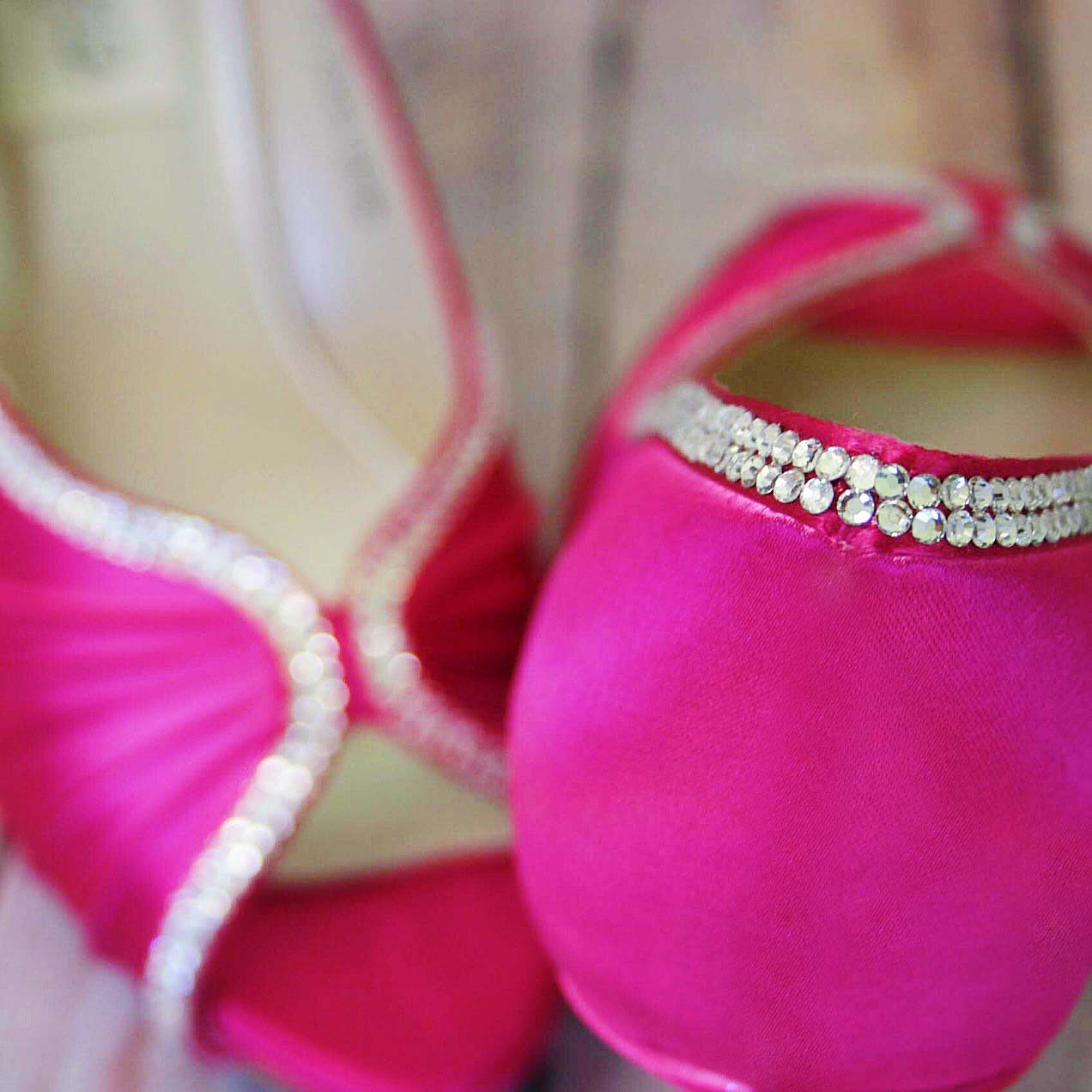 Fuchsia Pink Wedding Shoes with Silver Crystals Custom Wedding Shoes by Ellie Wren