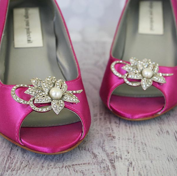 Comfortable Open Toe Wedge Wedding Shoes with Flower Brooch Custom Wedding Shoes by Ellie Wren