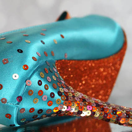 Teal Something Blue Wedding Shoes with Sparkly Ombre Sequin Heel and Glitter Sole Custom Wedding Shoes by Ellie Wren