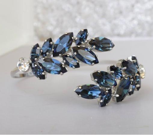 NAVY BLUE BRACELET, Swarovski Bracelet, Leaf Bracelet, Adjustable Bracelet, Something Blue, Bridal Arm Cuff, Blue Crystal Bracelet