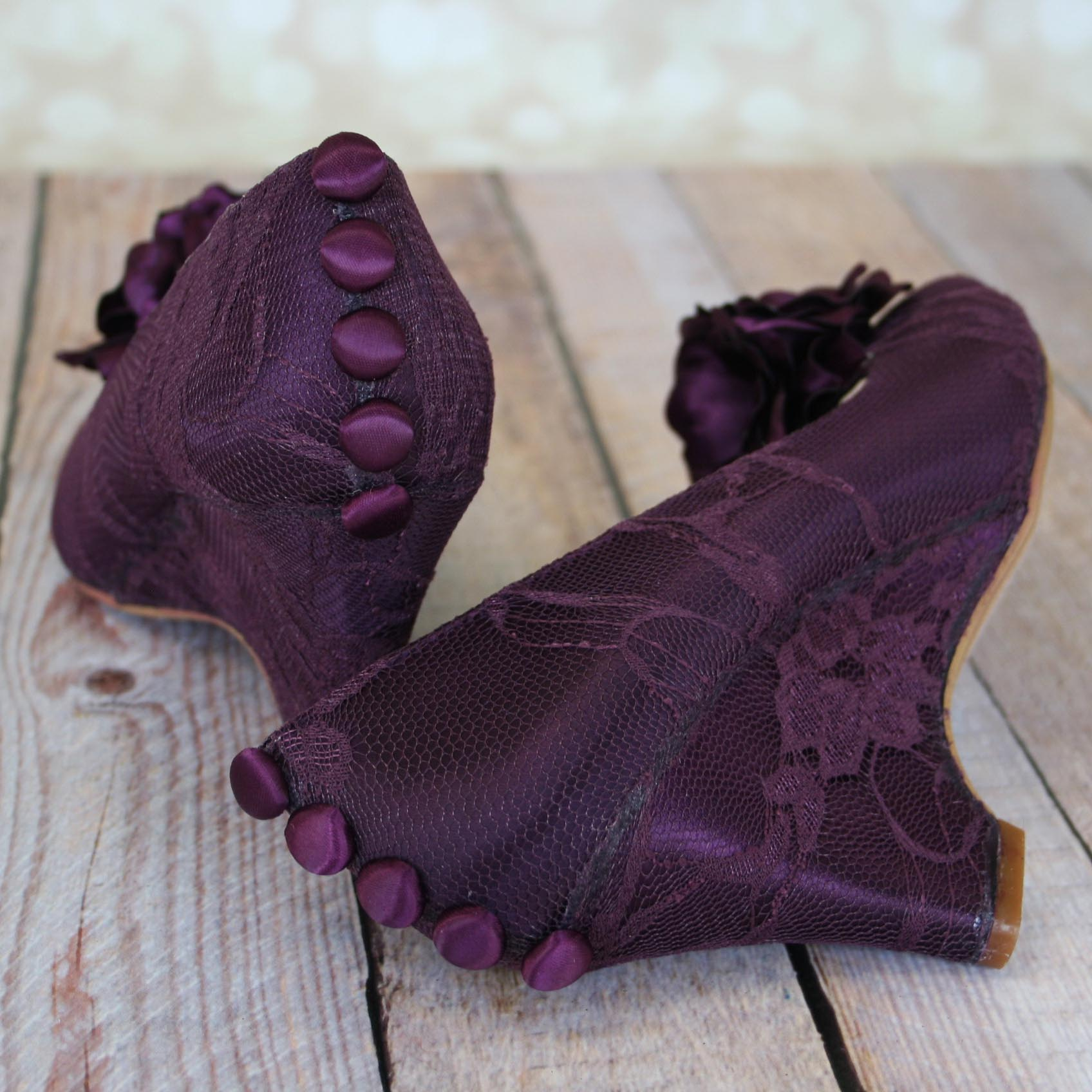 Plum Wedge Wedding Shoes Custom Wedding Shoes by Ellie Wren with Lace Overlay and Handmade Flowers
