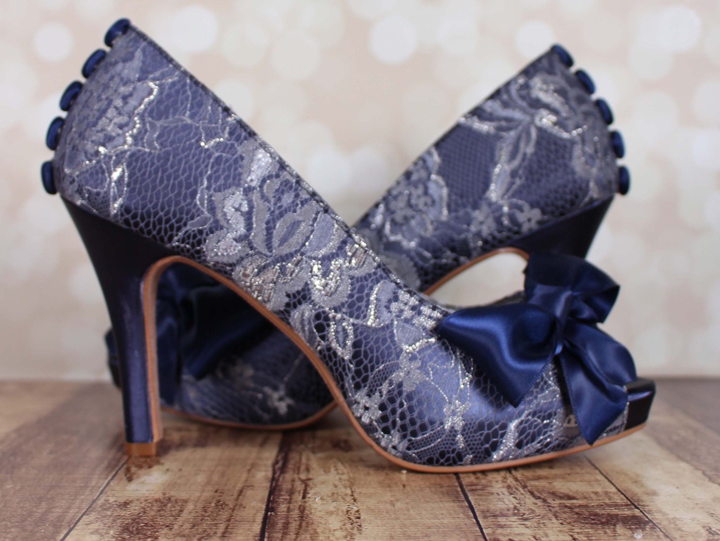 384ef1b5942 Navy Blue Open Toe Platform Wedding Shoes with a Handmade Matching Bow and  Satin Buttons