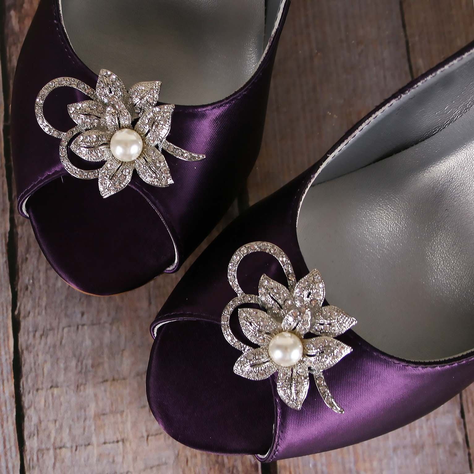 Eggplant Purple Wedges for Bride with Silver Crystal Flower Adornment Custom Wedding Shoes by Ellie Wren