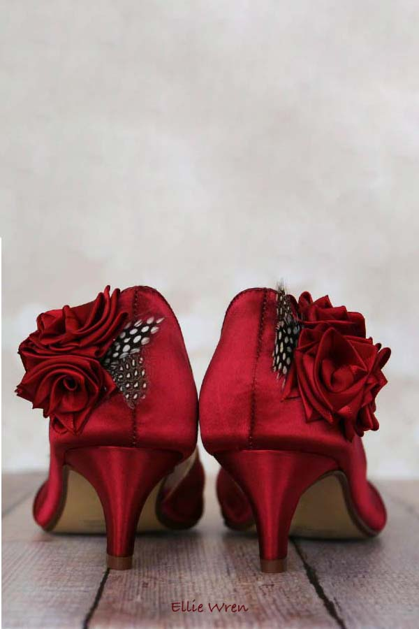 Red Rose Low Heel Wedding Shoes Custom Wedding Shoes by Ellie Wren