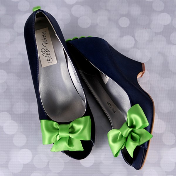 Navy Blue Wedge Wedding Shoes with Lime Green Bow Custom Wedding Shoes by Ellie Wren