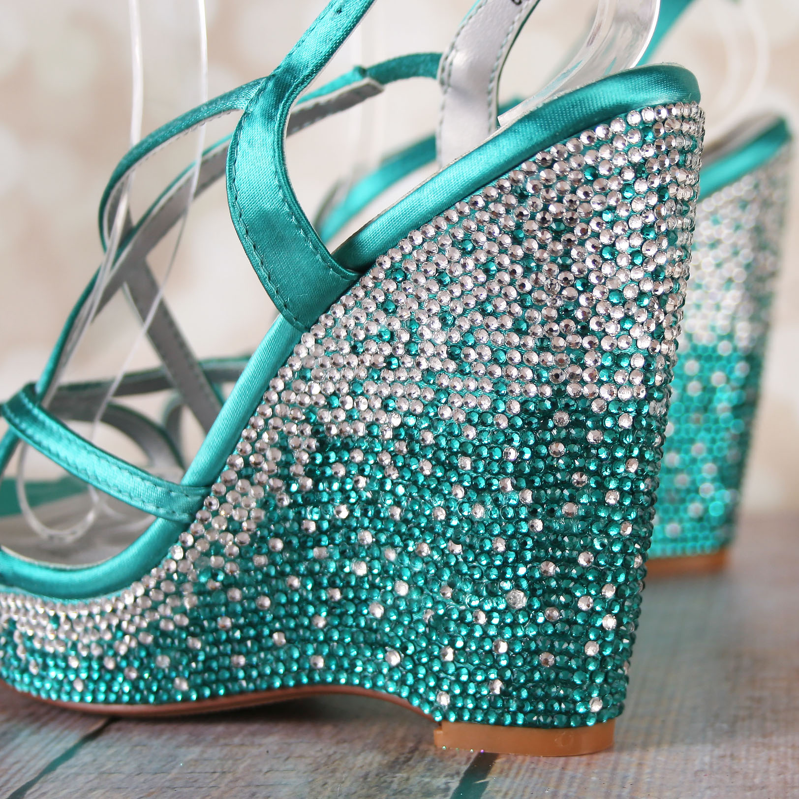 Something Blue Wedge Wedding Shoes with Sparkly Crystal Ombre Crystal Wedge Heel Custom Wedding Shoes by Ellie Wren