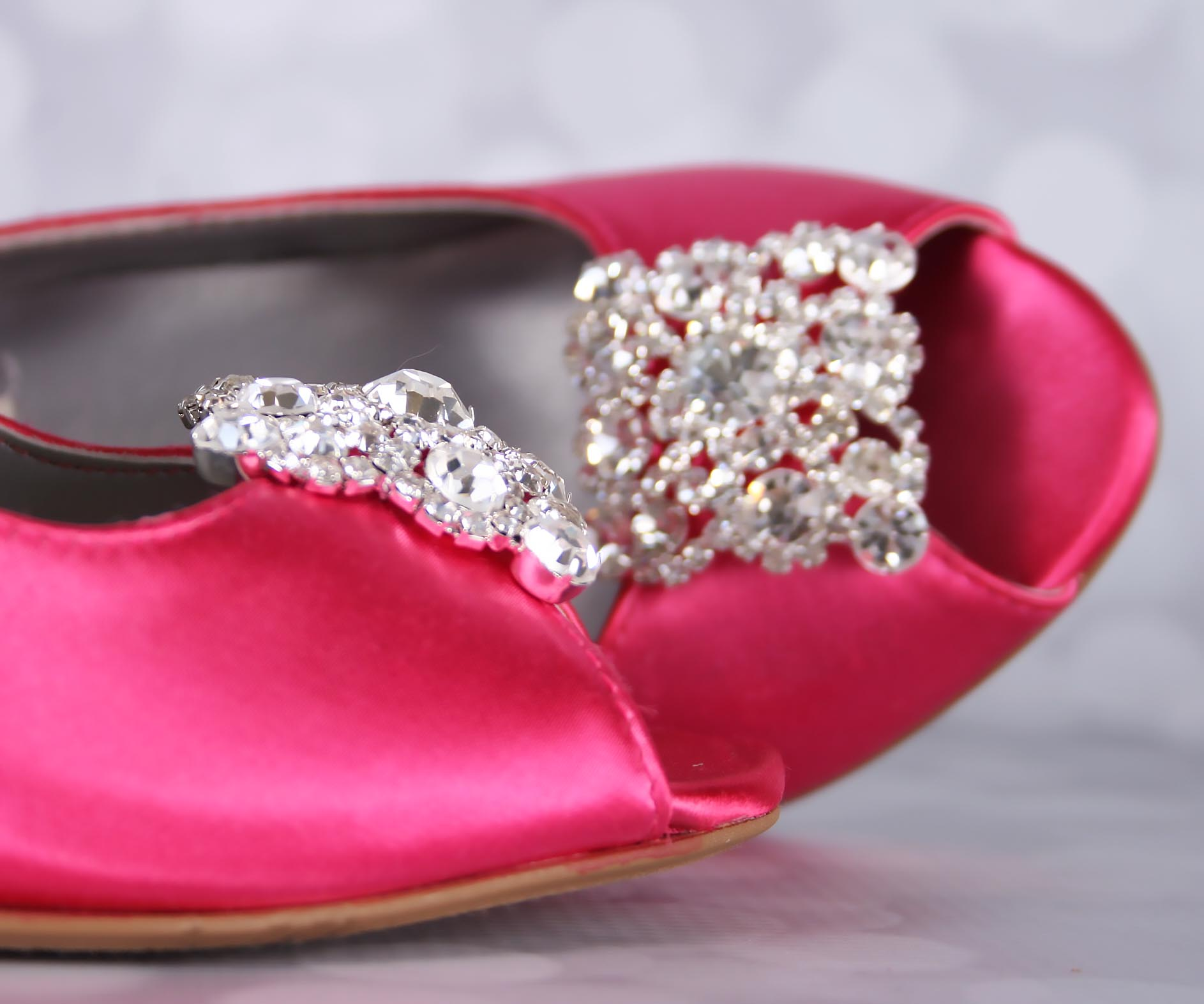 Fuchsia Pink Bridal Wedge Heels with Square Crystal Brooch Custom Wedding Shoes by Ellie Wren