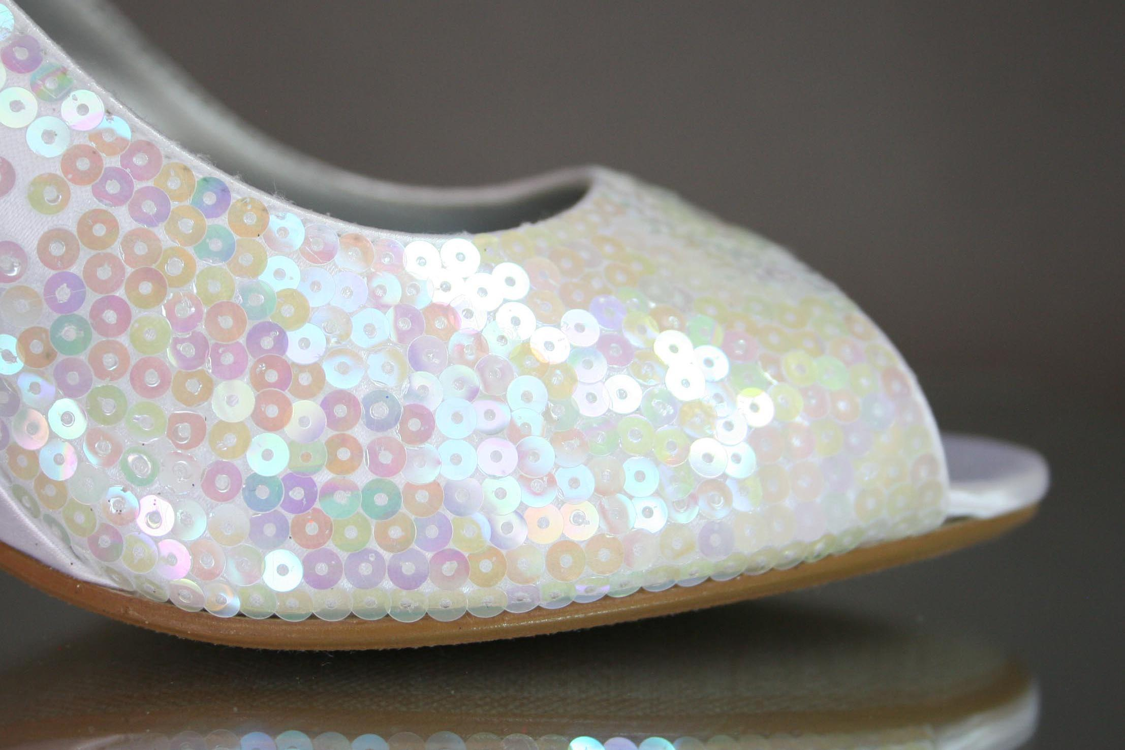 Iridescent Sequin New Year's Eve Wedding Wedge Shoes Custom Wedding Shoes by Ellie Wren