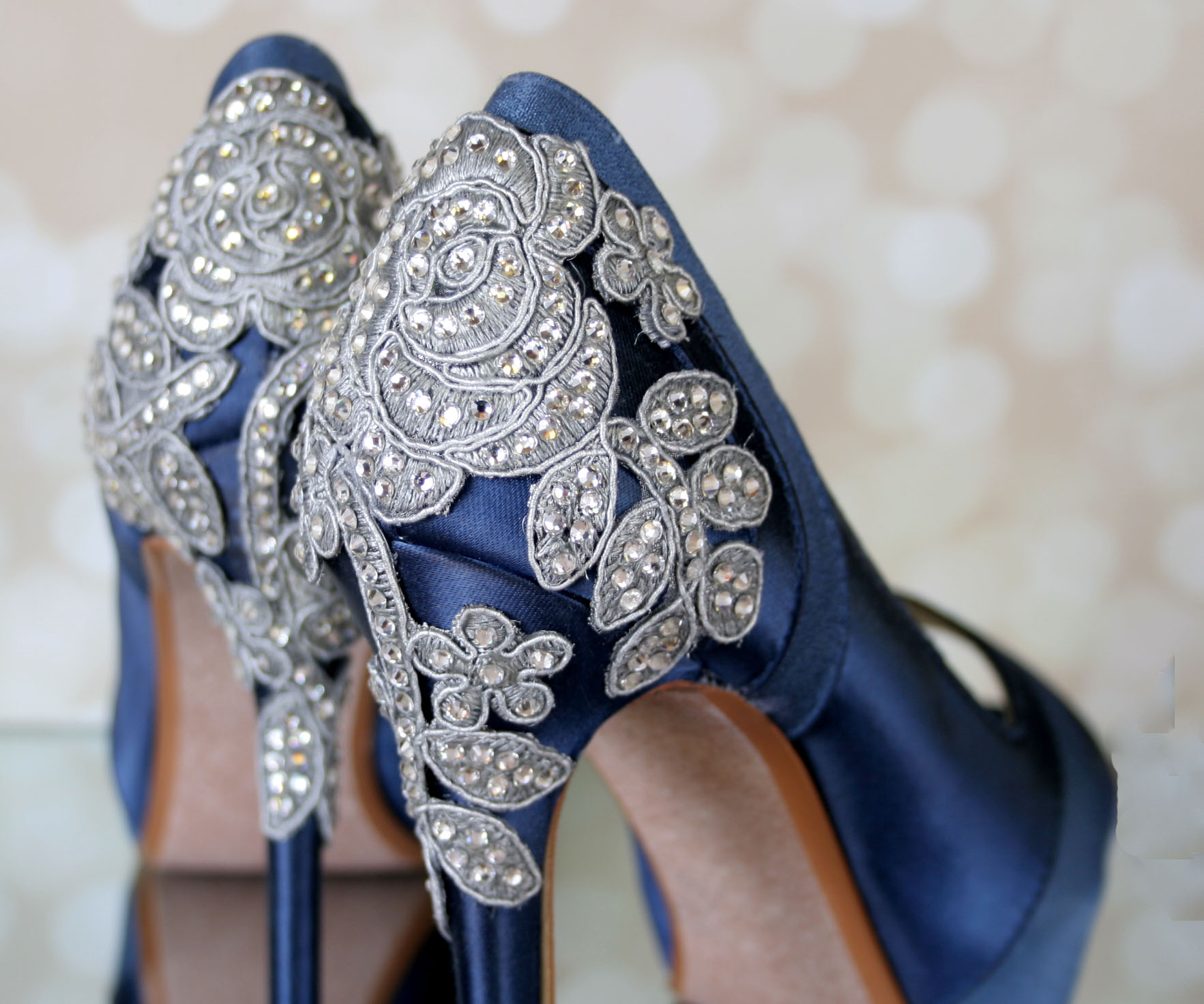 Navy Blue Something Blue Wedding Shoes with Crystal Bridal Heels Custom Wedding Shoes by Ellie Wren