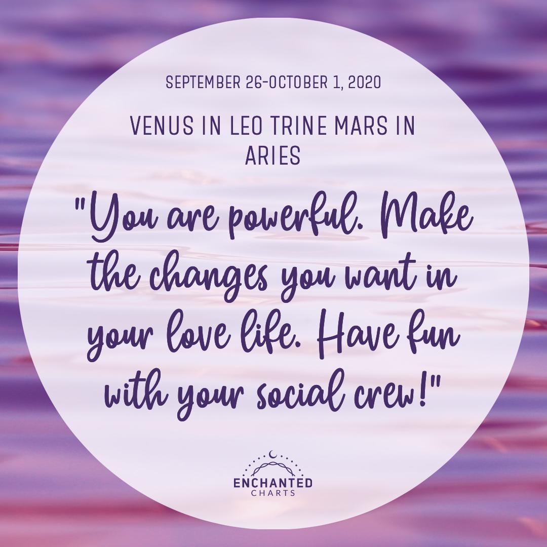 Venus in Leo Trine Mars in Aries