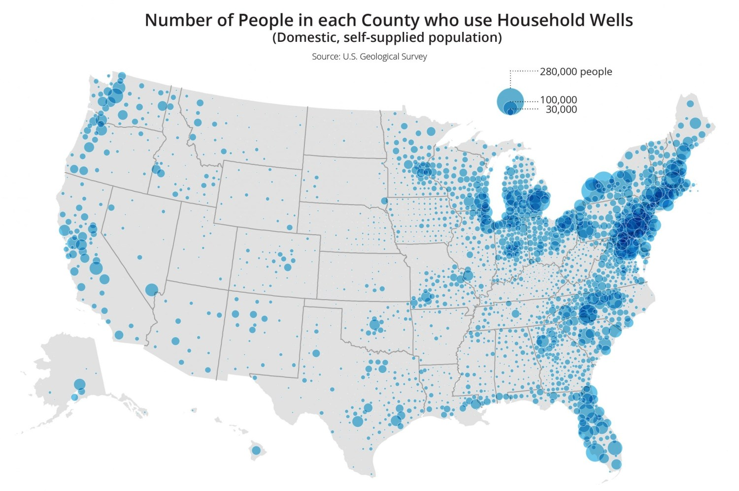 Map of How Many Americans Live On Well Water United States USA