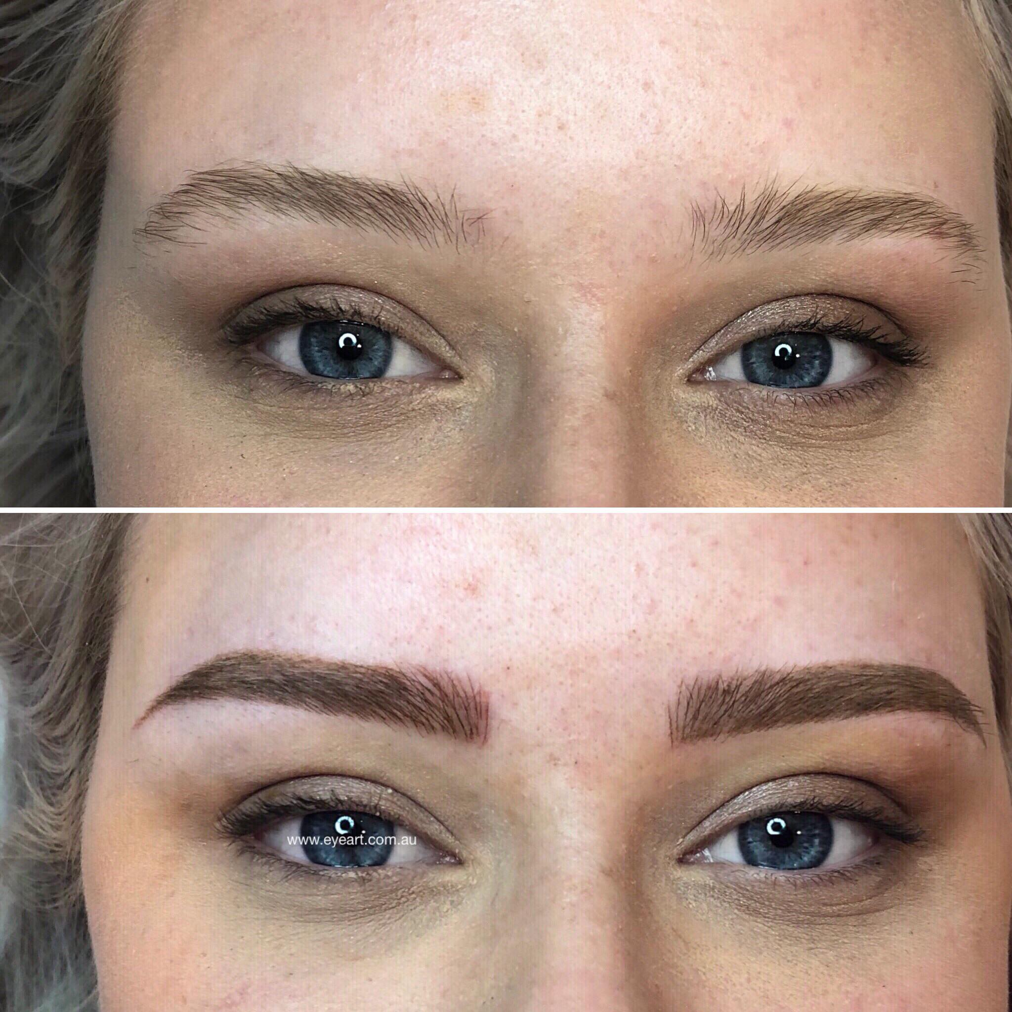 Eyebrow Tattoo Before and After Photos Microblading in Melbourne