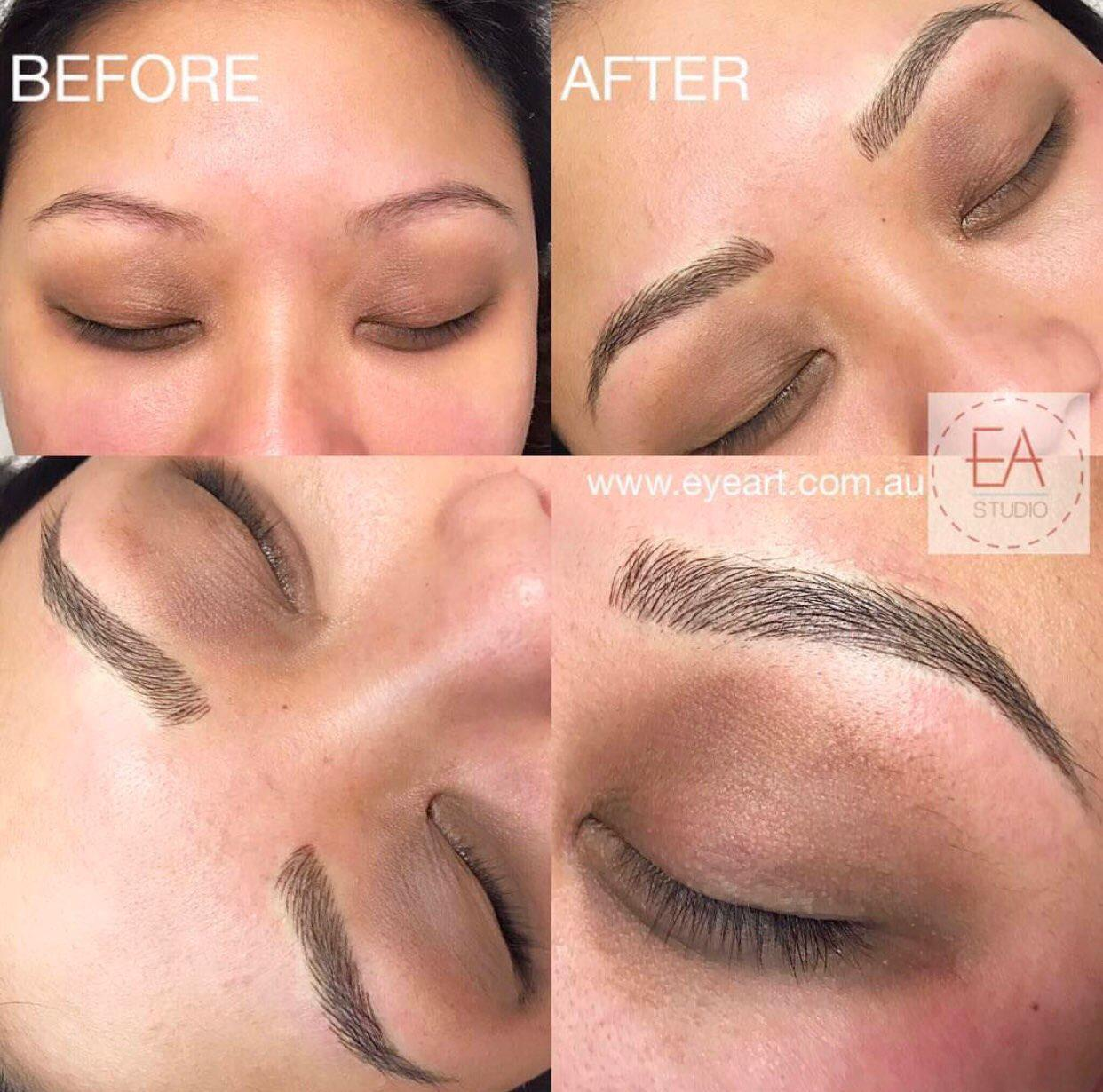 Microblading Eyebrow Tattoo Before and After Photo