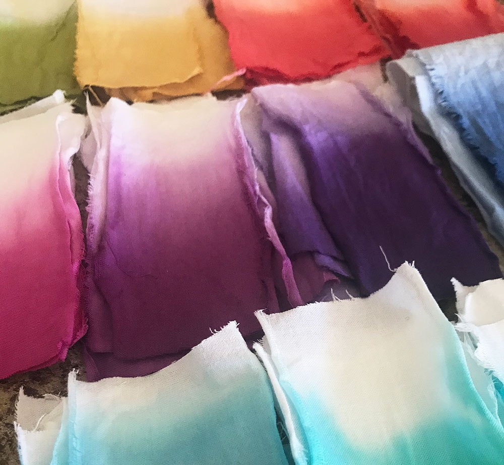 Dyed swatches of fabric
