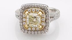 Double halo - Split Shank  1.25 ct fancy yellow diamond