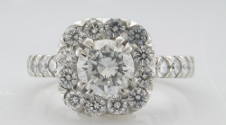 Round Diamond in a cushion halo  French pave' set