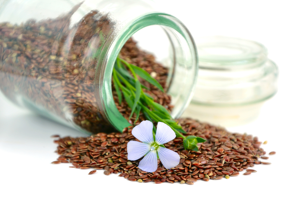 Jar of flax seeds using seed saving technique