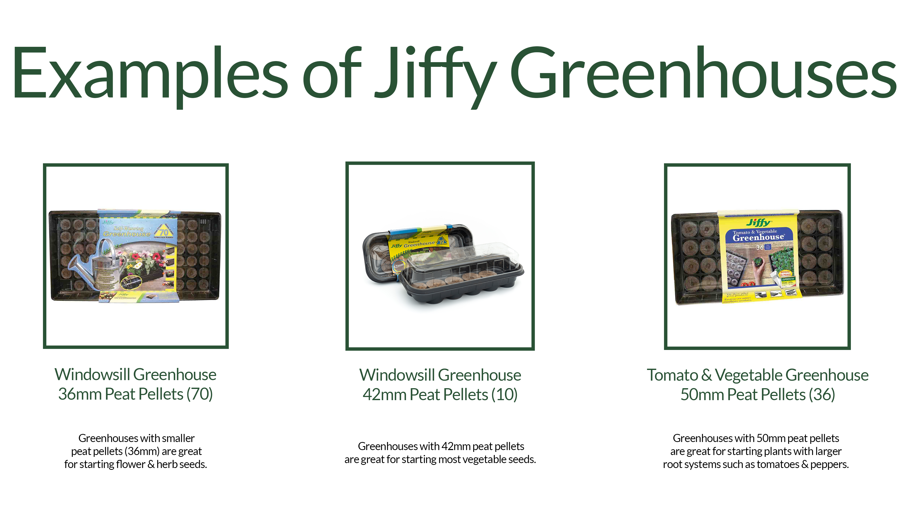 Examples of the different types of Jiffy Seed Starting Indoor Greenhouses