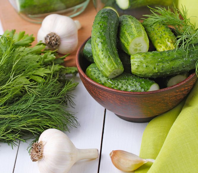 Dill pickle ingredients on kitchen counter