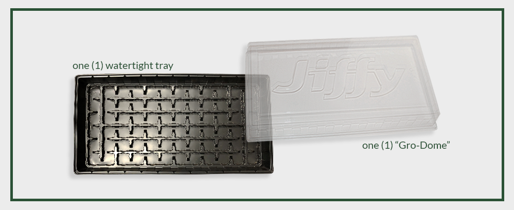 Jiffy Greenhouse seed starting tray without pellets inside | view of empty watertight tray and clear plastic humidity dome
