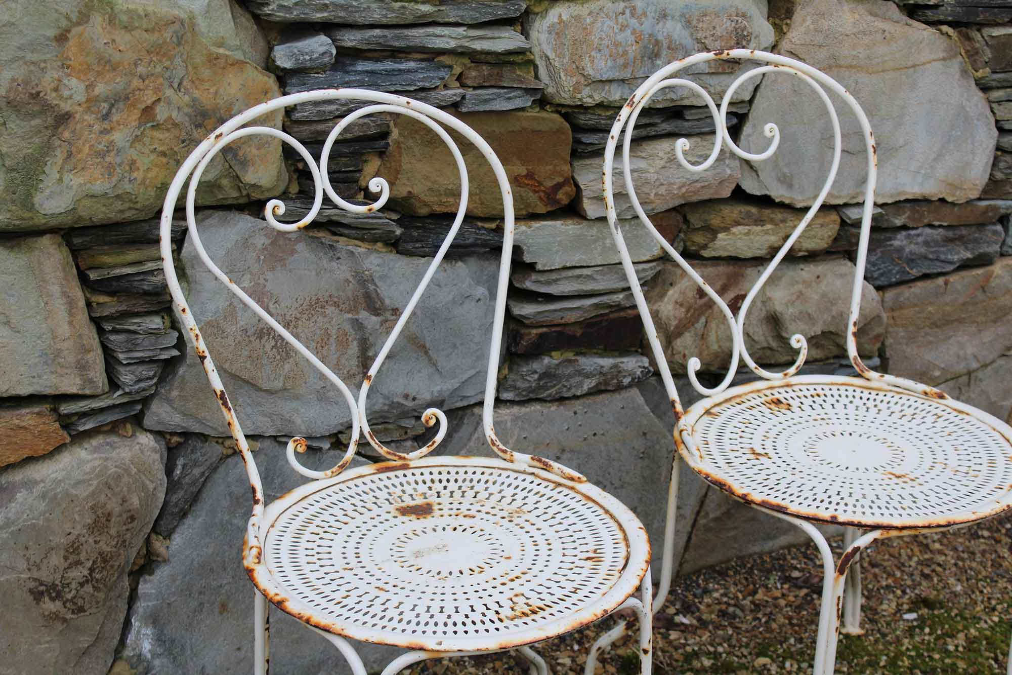 Pair of French Wrought Iron Chairs