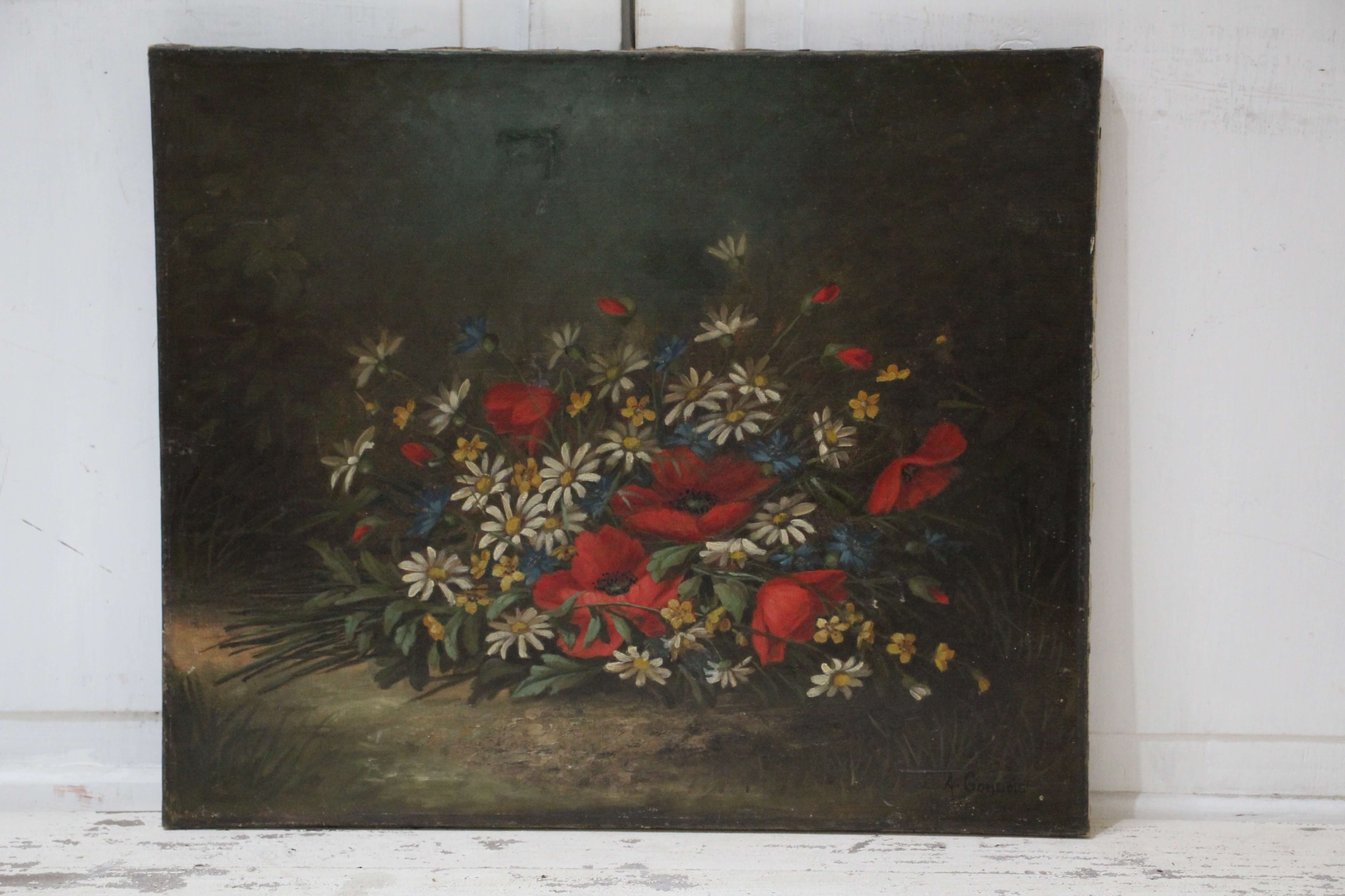 Floral Oil Painting of Poppies and Daisies