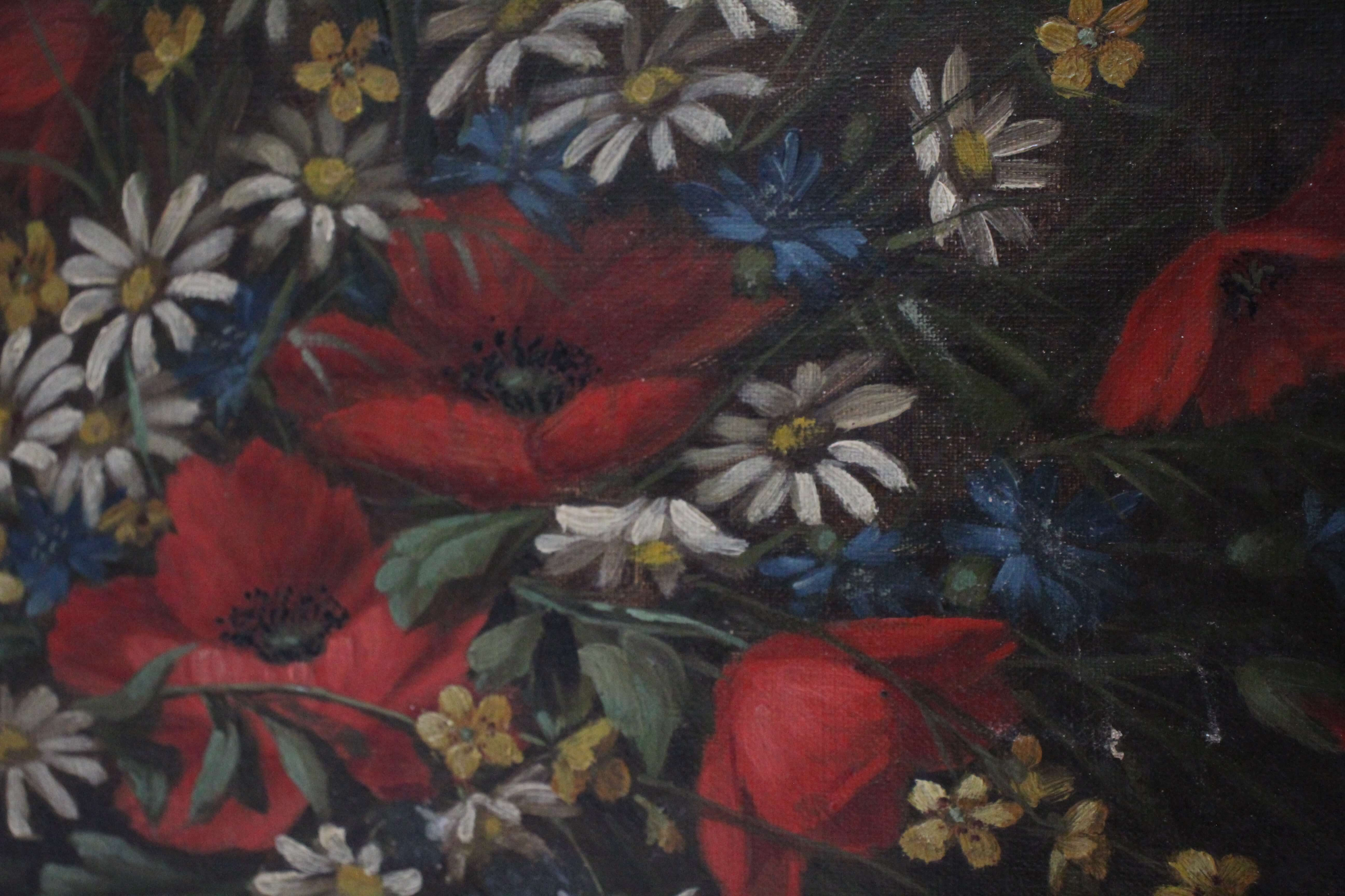 Oil Painting of Poppies and Daisies