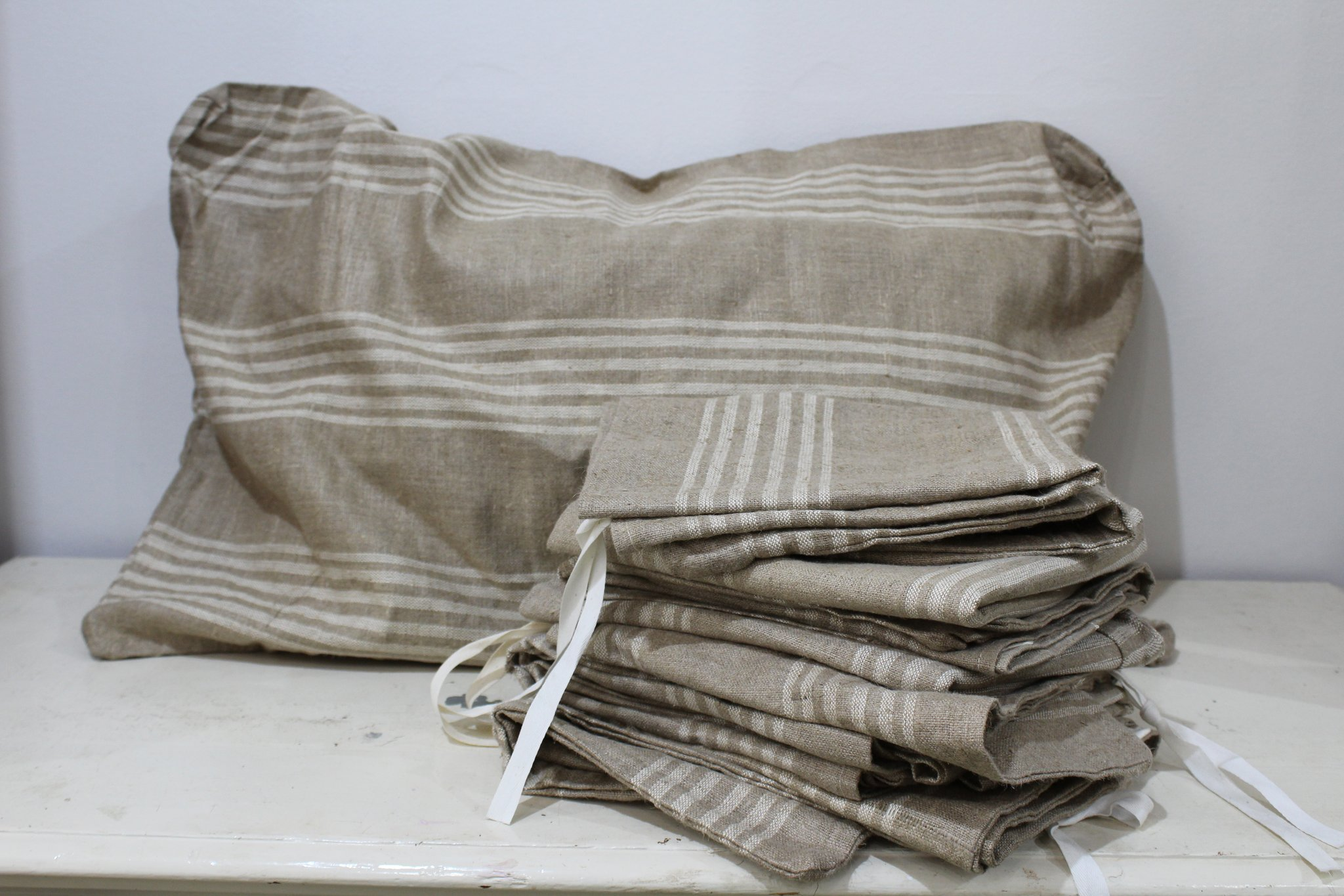 French Striped Pillow Covers