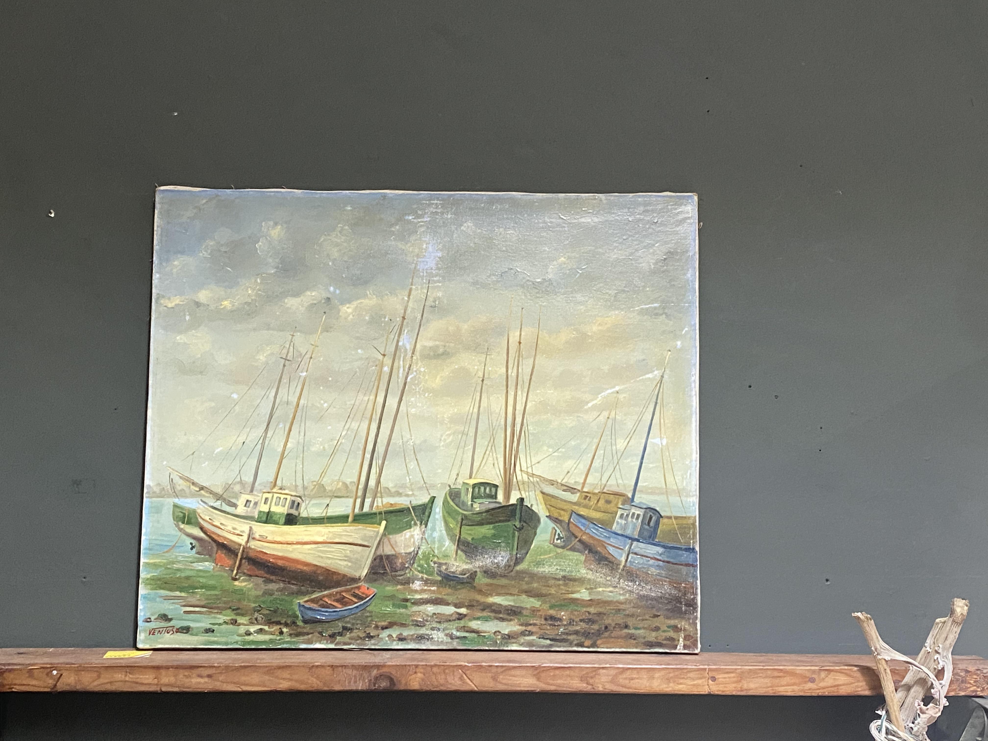 Large Antique Boat Scene