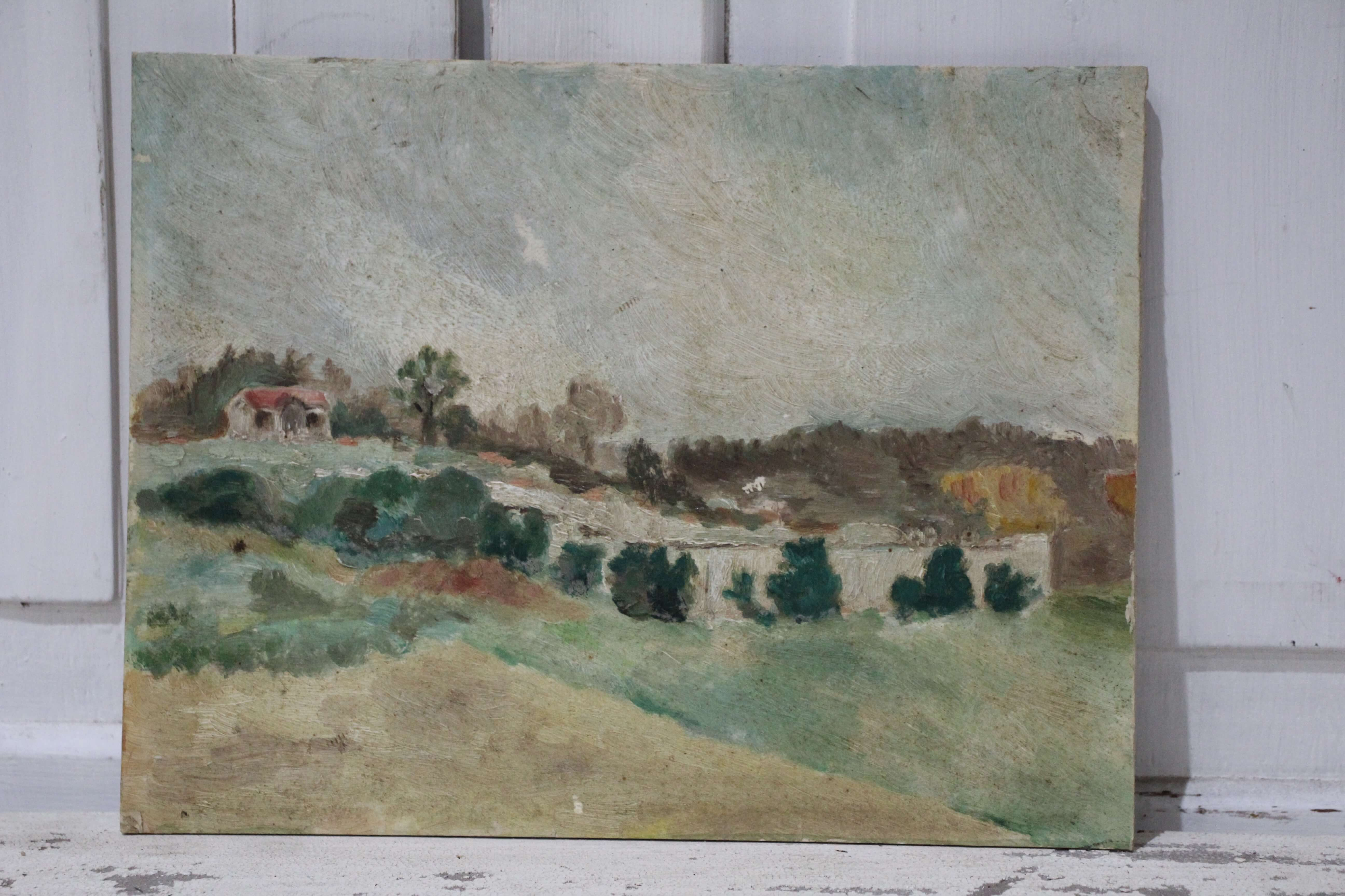 French Cottage Landscape Scene