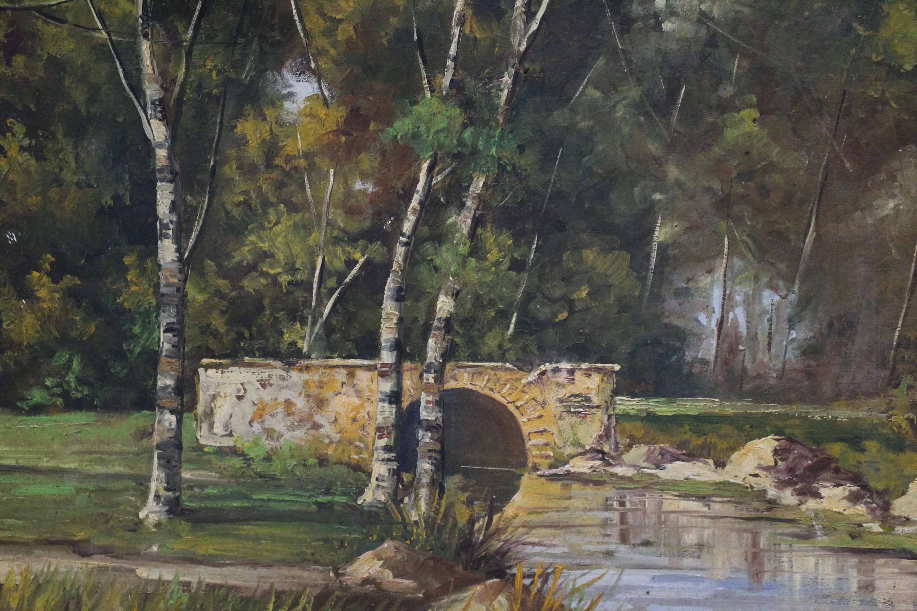 Large Oil Painting of Bridge