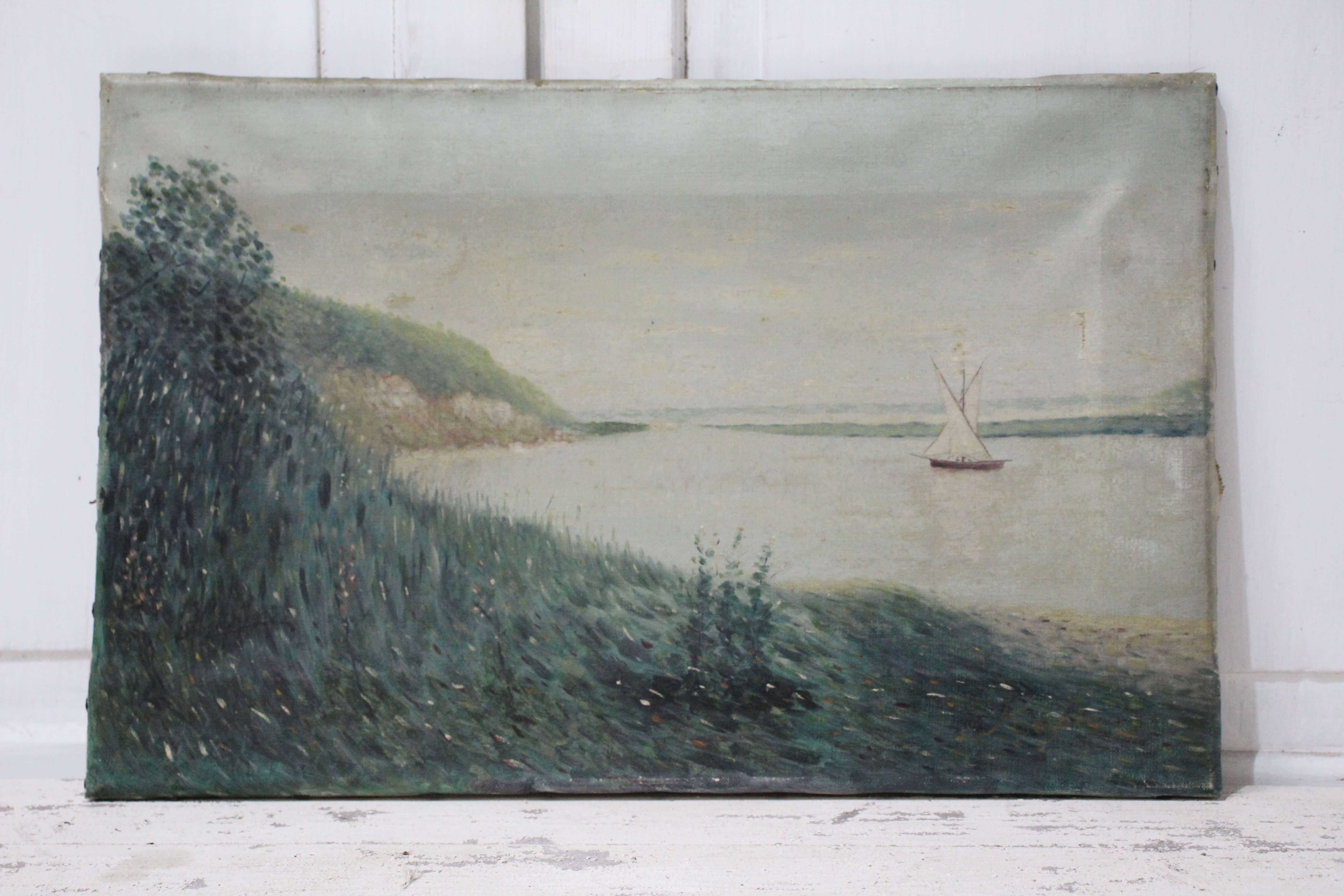 Antique Oil Painting of Boat scene