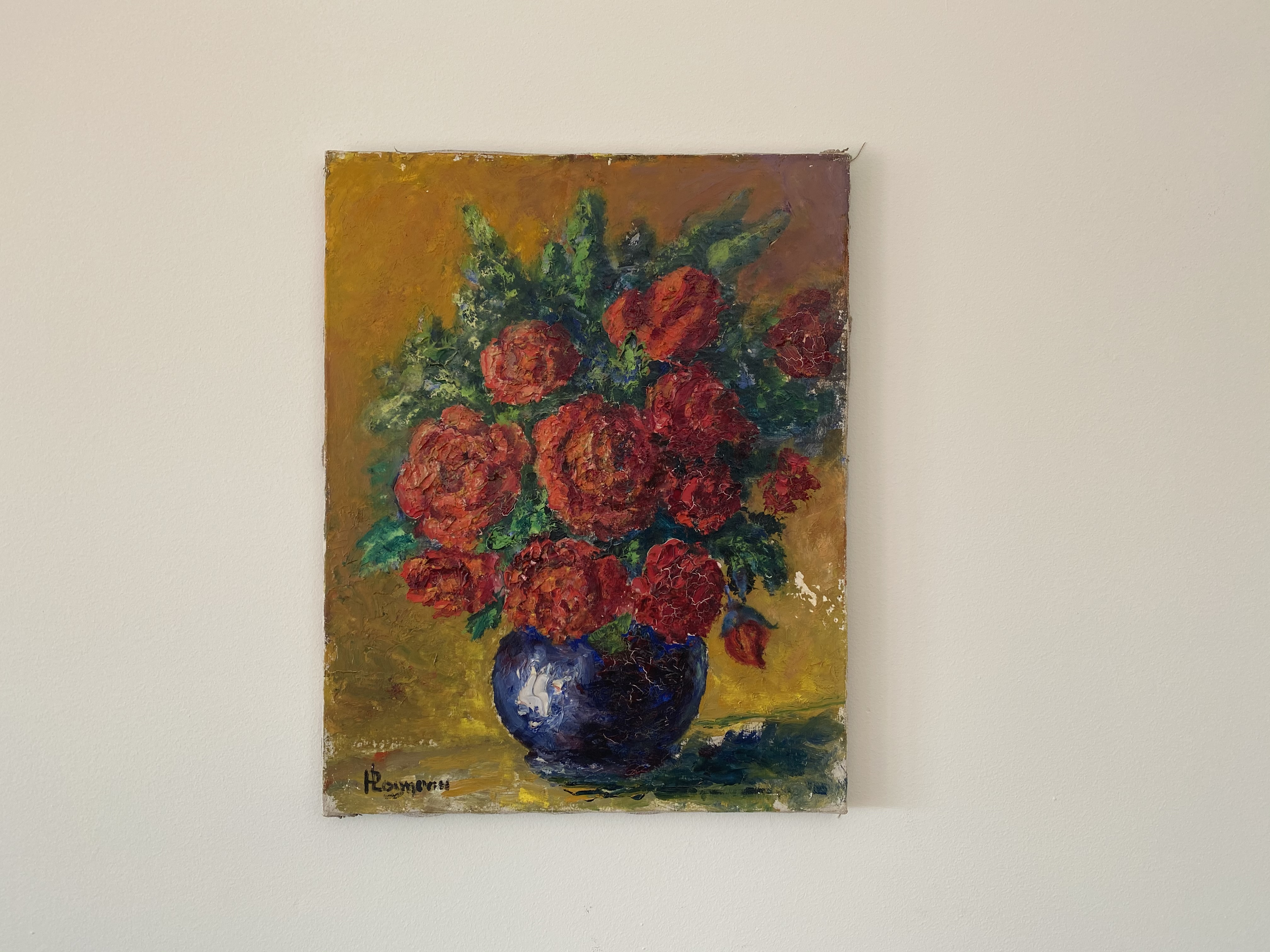 Red Floral Oil Painting