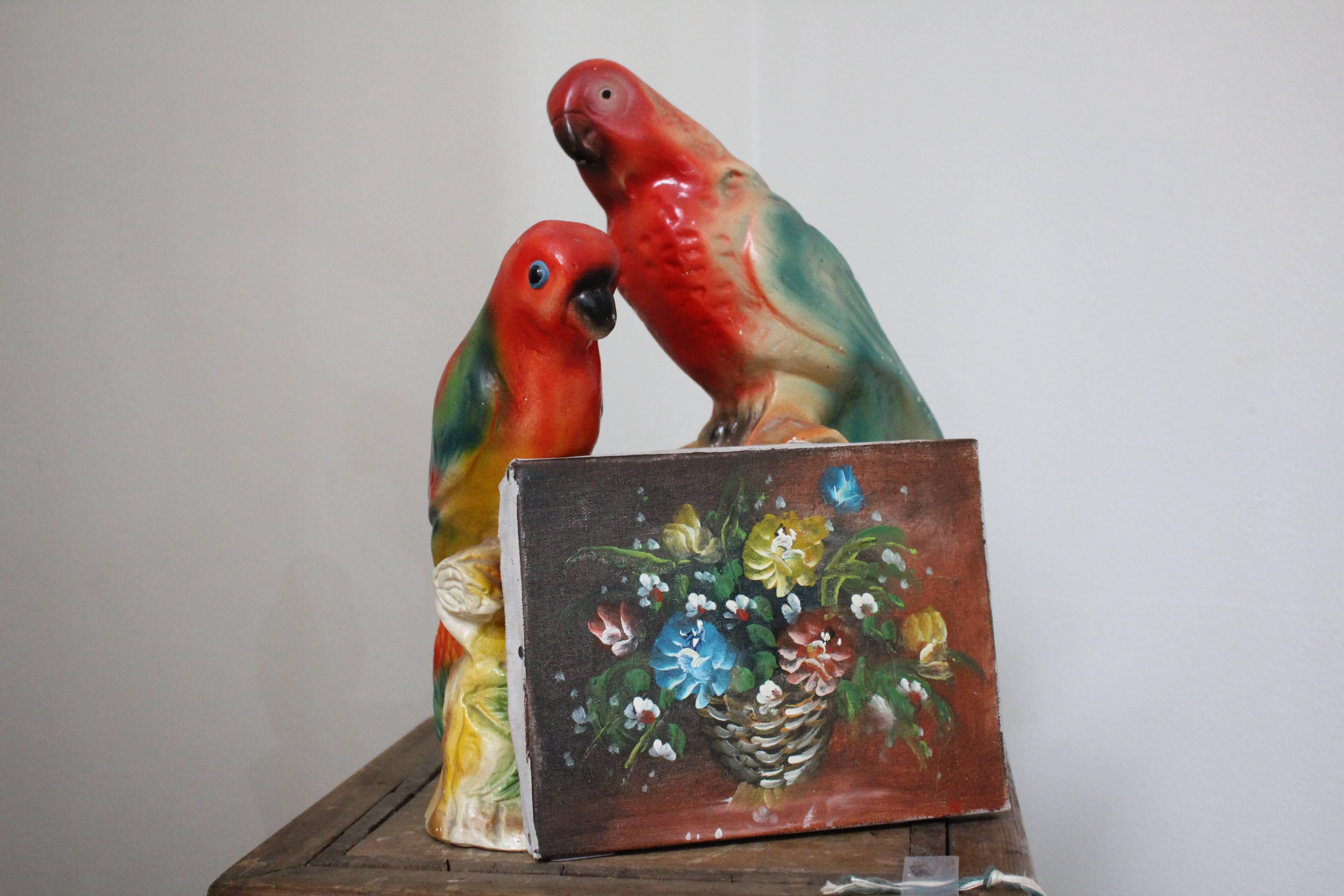 1920's Plaster Parrots