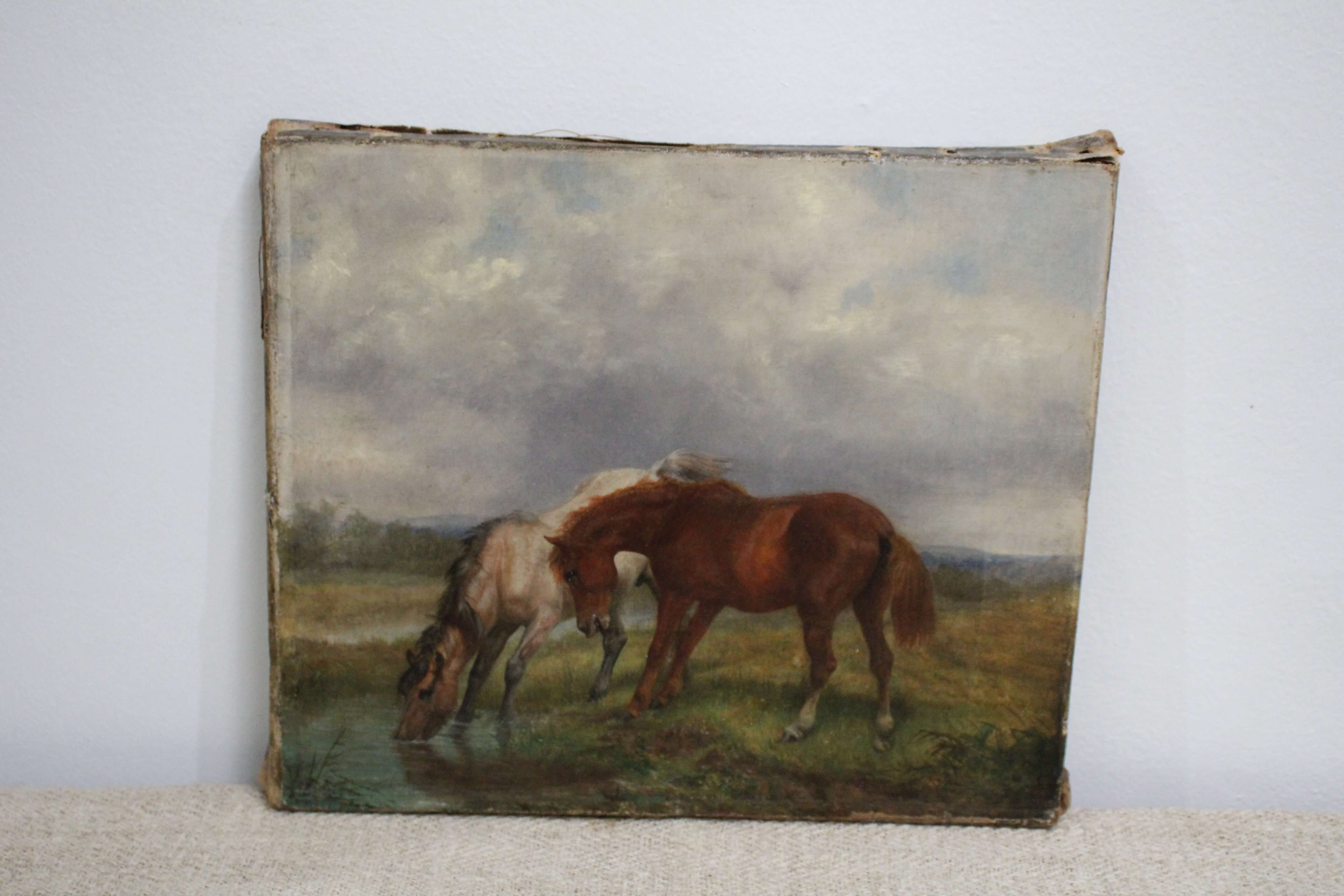 Horse Antique Oil Painting