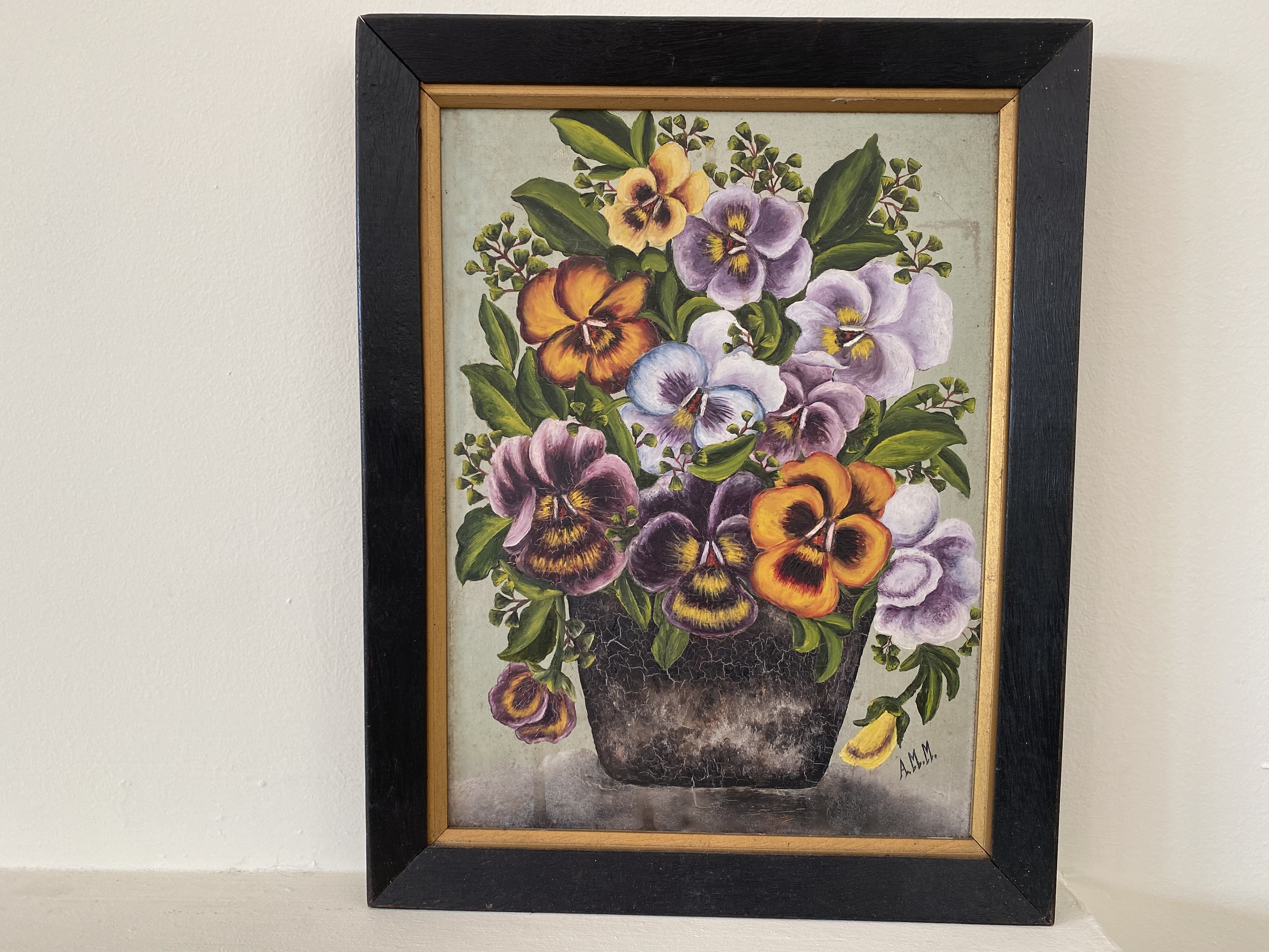 Framed Pansy Oil Painting