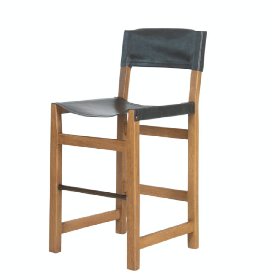 Breckenridge Leather and Wood Counter Stools