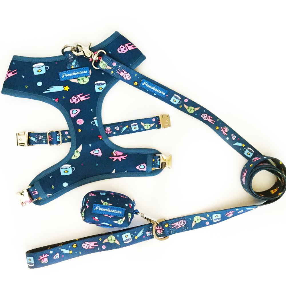 Frenchiestore set bundle leash harness and poop bag